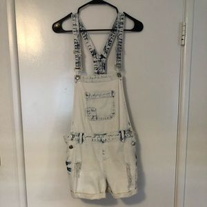 Acid Wash Overall Shorts